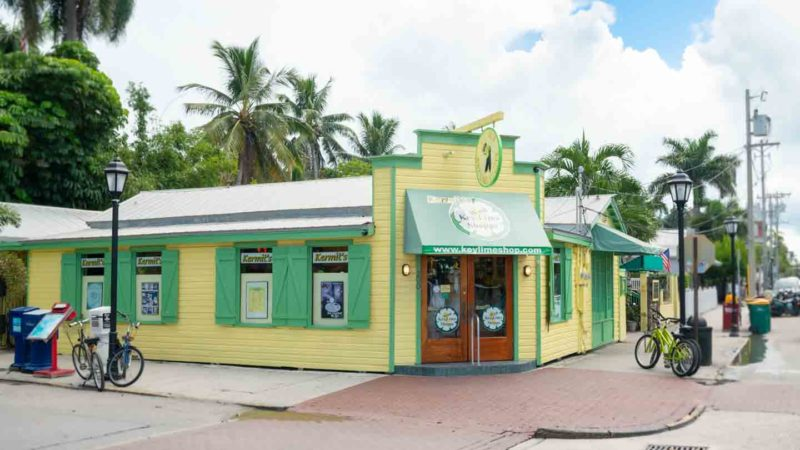 Green and yellow exterior of Kermit's Key West Lime Pie Shoppe - Places to eat in Key West