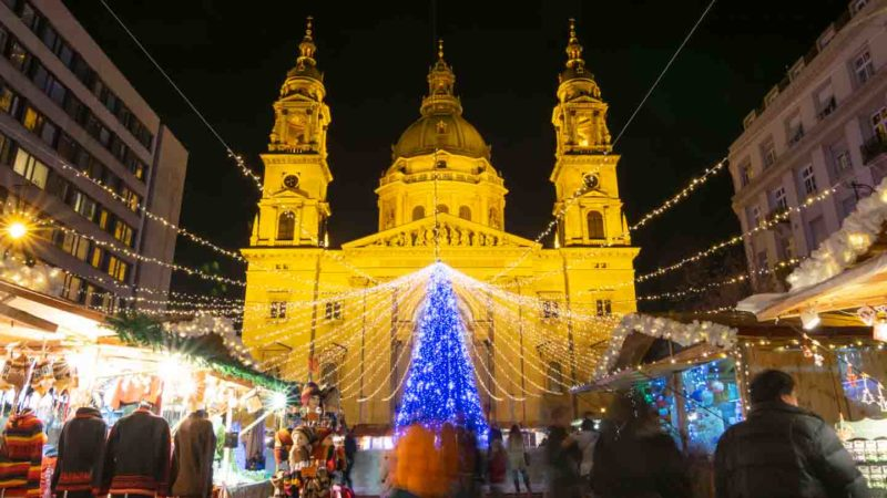 View of the St. Stepen's Basilica Market at night - Best Christmas Markets in Budapest