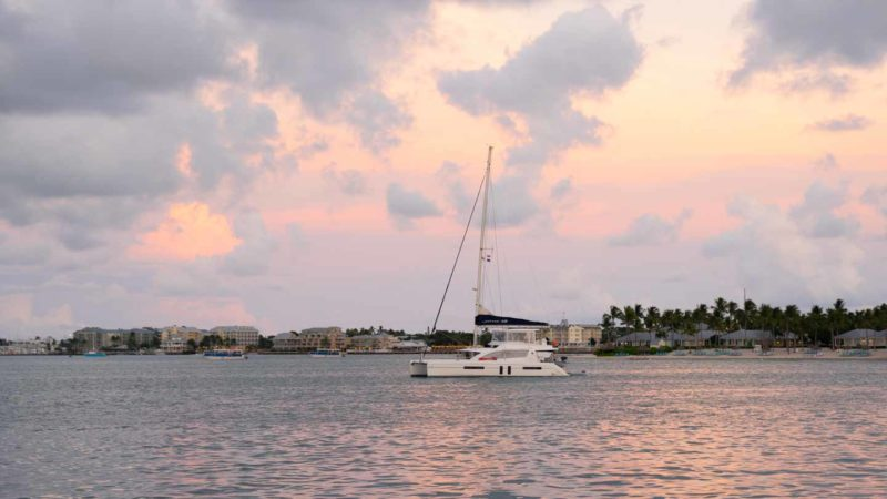 A catamaran seen from a sunset cruise from Key West - Top things to do while visiting Key West by car