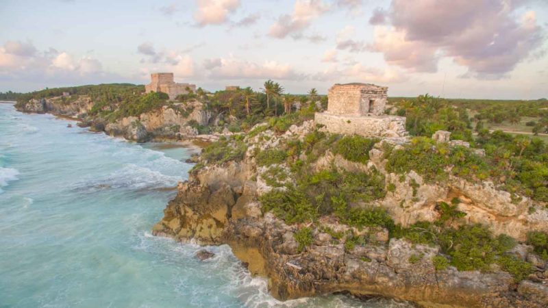 Aerial view of the Mayan ruins in Tulum Mexico - Top places to visit