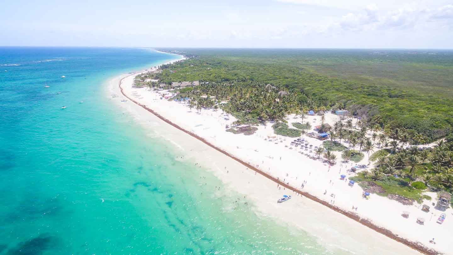 Aerial View of Playa Paraiso - Paradise Beach Tulum - top areas for visitors to stay