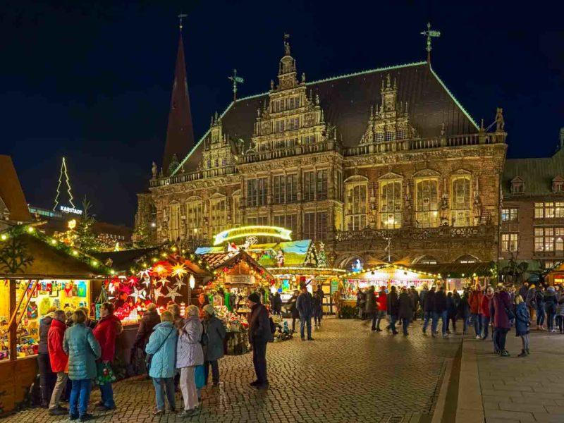 German Christmas Market in Bremen Market Square at night