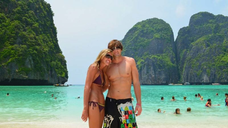 Couple standing on the beach in Maya Bay - Koh Phi Phi Leh - Top tourist attractions in Thailand