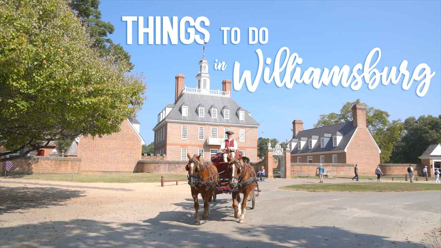 Cover image for Things to do in Williamsburg Virginia - Horse carriage in front of the red brick governors mansion in Colonial Williamsburg