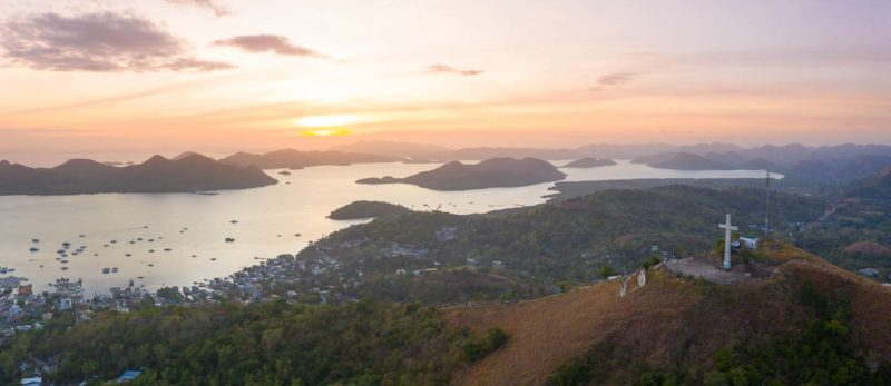 Aerial View of the Sunset over Mt. Tapyas in Coron