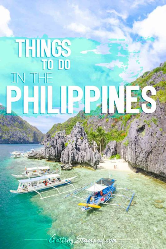 Boats parked in front of an Island in the Philippines - Pinterest Pin for best things to do