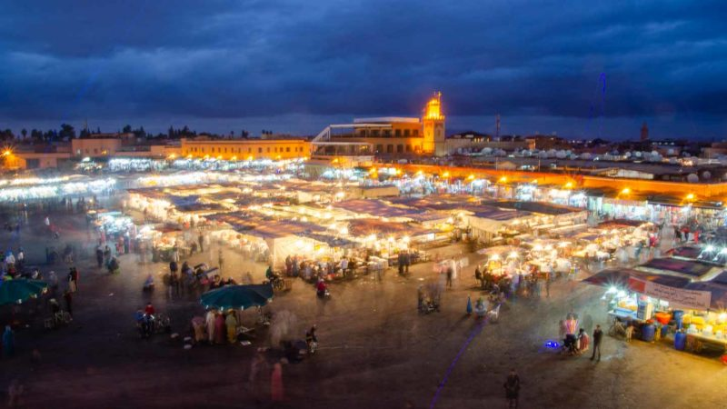Night view of the Marrakech Medina - Top destinations in Morocco