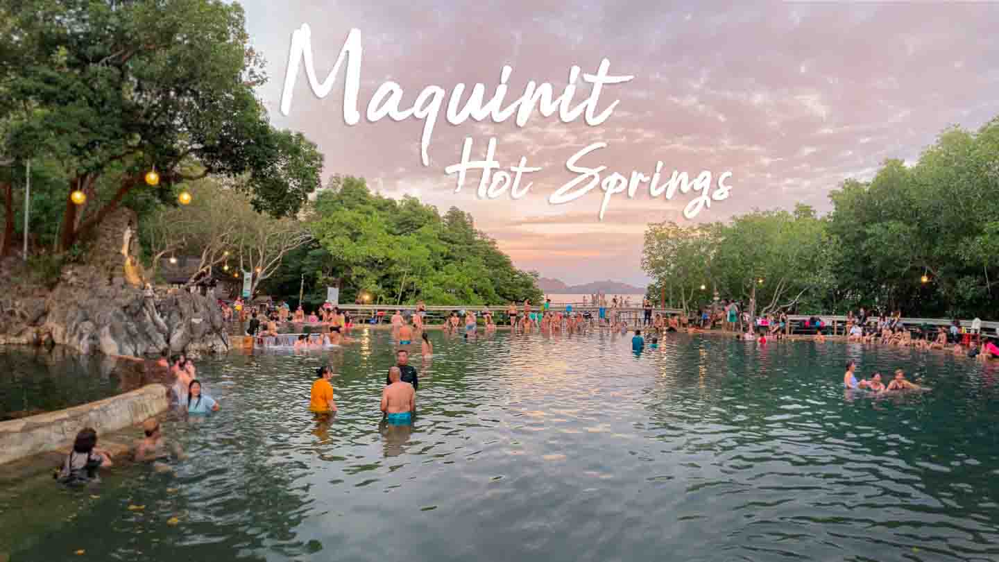 Pink and Orange sunset behind Maquinit Hot Springs in Coron - Featured Image with text